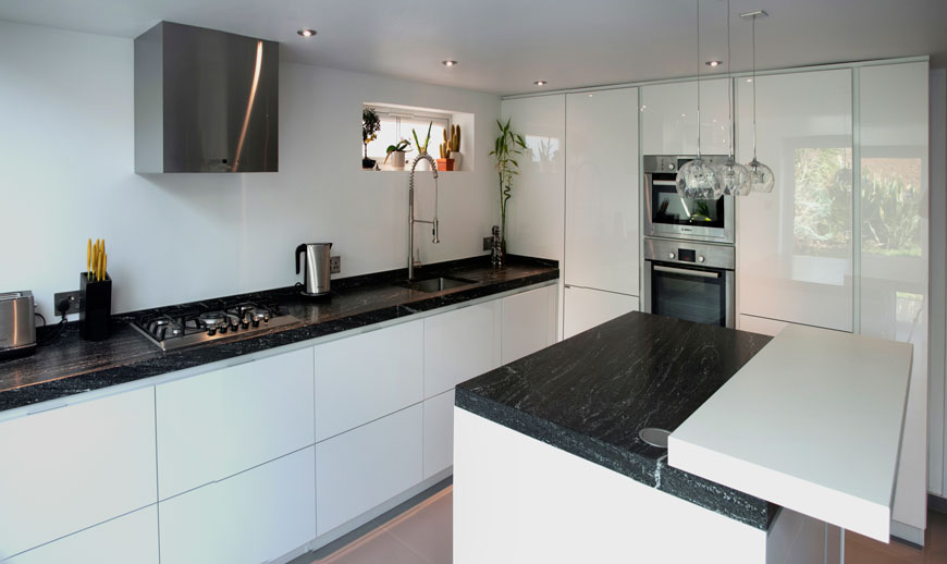 Kitchen white black top