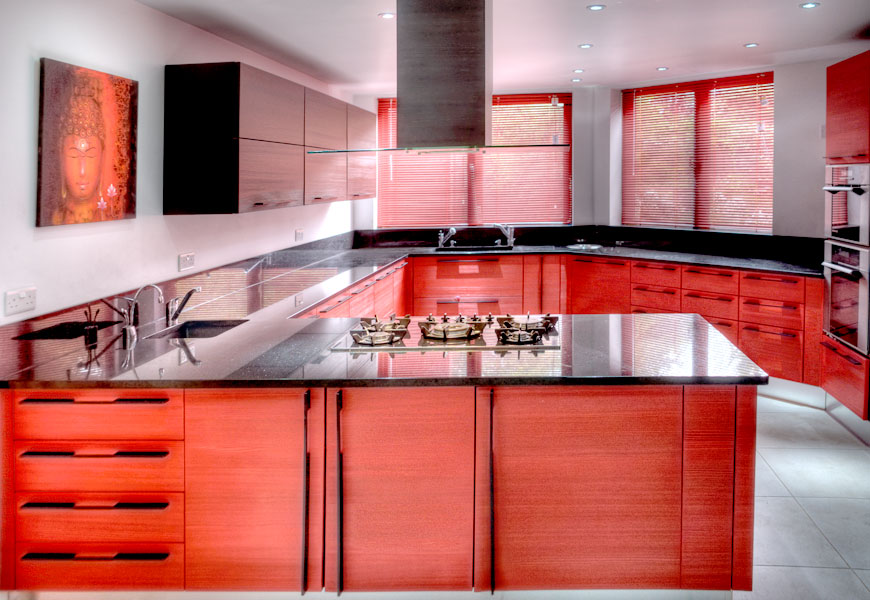 Designer kitchen red