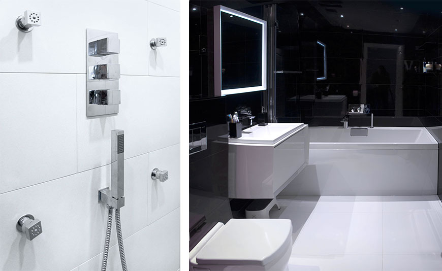 Modern bathroom in black and Steamer